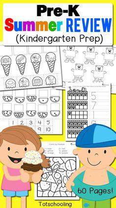 Pre-K Summer Review Pack for Kindergarten Prep