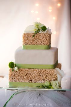 rice krispie wedding cake .... one layer YOURS and another HIS image by www.lovetreephotography.ca