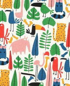 Playful jungle character prints at Kids Patterns, Summer Patterns, Print Patterns, Vintage Pattern Design, Jungle Pattern, Jungle Print, Nature Prints, Illustrations, Kids Prints