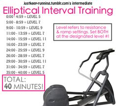 40 Minute Eliptical Interval Training ( help the work out go bye quicker)