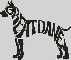 INSTANT DOWNLOAD Purchase will include: This is a very cute Embroidery Design Digitized Great Dane Text Filled 5 x 7. Digitized design made for Embroidery. This download has 5x 7 sizes. Embroidery file formats that will be included in your purchase are as follows: DST, EXP, HUS, JEF,