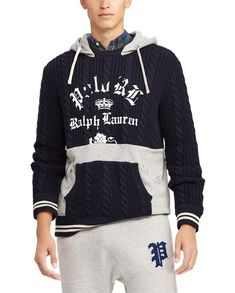 9dc4b4f69a4 Polo Ralph Lauren Pull à capuche pan en molleton Bleu marine Gris chiné -  Pull Homme Ralph Lauren