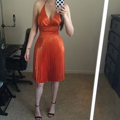 "Orange party dress Used once, in perfect condition, I believe its size small but can fit up to a Medium (has lots of stretch) it might look longer on you since I'm pretty tall any questions just ask!❤️.   Height 6'0, 32C, 25"" waist  ""not zara brand"" Zara Dresses Midi"