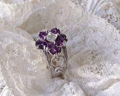 Amethyst & Topaz Ladies Ring Size 8.5 Twilight Lavender  #BradfordExchange #Statement #Christmas