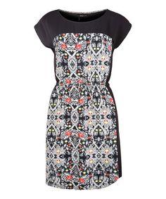 Loving this Dex Kaleidoscope & Black Cap-Sleeve Dress on #zulily! #zulilyfinds