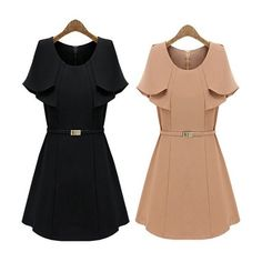 2016 Fashion Style Short Sleeve Women Autumn and Winter Romantic Classic Black Brown Dress Office Ladies Work Fit Back Fashion for women Women`s outfit Outfit ideas for women Style inspiration Women`s wardrobe Clothes for women Wear for women Classy Awesome Gorgeous Casual Street