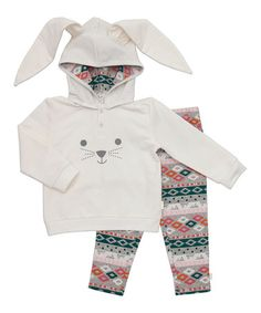 Look what I found on #zulily! Gray & Green Geometric Bunny Hoodie & Leggings - Infant #zulilyfinds