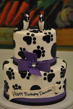 birthday cake ideas for dog lovers - Google Search Fancy Cakes, Cute Cakes, Fondant Cakes, Cupcake Cakes, Fondant Bow, Fondant Tutorial, Fondant Flowers, Fondant Figures, Boston Terrier Cake