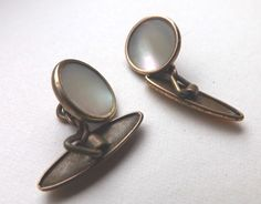 SOLD! Vintage CHAINLINK CUFFLINKS Gold Tone Circular Face MOTHER OF PEARL Free P&P