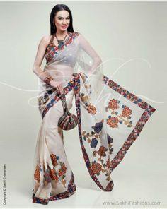 Translucent Banarasi Net featuring Kalamkari appliqué and detailing. Kalamkari Fabric, Kalamkari Saree, Silk Sarees, Desi Love, Kalamkari Designs, Kasavu Saree, Cream Colour, Traditional Fabric, Organza Saree