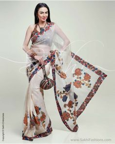 Translucent Banarasi Net #silk #saree featuring Kalamkari appliqué and #embroidery detailing.