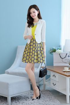 Women's #yellow two piece set #dress plus white jacket two in one design, casual street style, round neck, pull over, three-quarter sleeve, nylon texture.