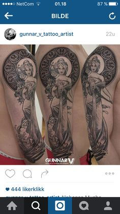 Mucha tattoo by Gunnar V at Element Tattoo Oslo.