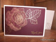 Maureen Rootes - mo@crafty-rootes.co.uk - Stampin Up Rose Wonder stamp set embossed in gold onto Blackberry Bliss. The rose is then coloured in with bleach and the piece is mounted onto a Whisper White card base