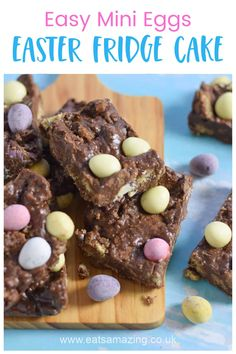 Quick and easy Mini Eggs Chocolate Fridge Cake - this no-bake dessert is perfect for Easter baking with kids Mini Egg Recipes, Easter Recipes, Cake Recipes, Chocolate Easter Nests, Chocolate Fridge Cake, Digestive Biscuits, Mini Eggs, Easy Meals For Kids, Easter Cupcakes