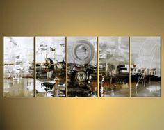 Grande moderno abstracto pintura 60 x 30 marrón de por OsnatFineArt