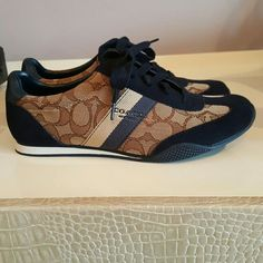never worn! Gorgeous Coach sneakers! Navy/beige signature coach sneakers! Never worn, pristine conditon! Coach Shoes Sneakers