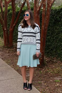 Grey Sweater and silk dress via With Style and a Little Grace