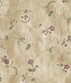 Brewster Wallpaper ARS26091 Shiva Gold Trumpet Floral Vine
