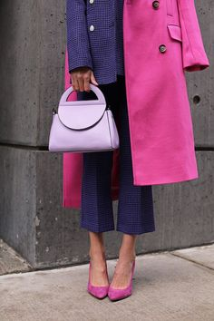 ELLE WOODS // BIG MOOD - Blair Eadie wearing a suit and coat from Topshop // Click through to find more fashion on a budget in her newest product roundup on Atlantic-Pacific // Pink and purple Source by - Fashion Week, Look Fashion, Winter Fashion, Fashion Outfits, Womens Fashion, Elle Fashion, Dress Fashion, Colourful Outfits, Colorful Fashion