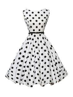 Vestido Vintage branco joia decote sem mangas Polka Dot A linha deflagrou retrô vestido com cinto - Milanoo.com