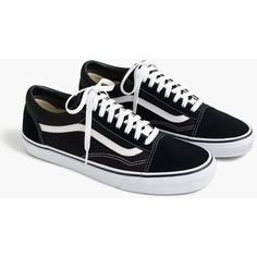 J.Crew Vans® Old Skool sneakers in black ($60) ❤ liked on Polyvore featuring shoes, sneakers, vans, kohl shoes, j crew shoes, black trainers, black shoes and black rubber sole shoes
