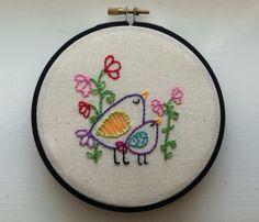 Hand Embroidered Momma Bird & Baby Bird Nursery Wall Art on Etsy, $5.00