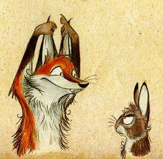 Le renard qui se moque du lapin ^^