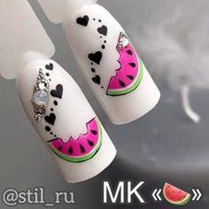 Uñas de frutas Nail Art Designs Videos, Toe Nail Designs, Cute Nail Art, Cute Nails, Hello Nails, Nail Art Courses, Nail Art Wheel, Fruit Nail Art, Wow Nails