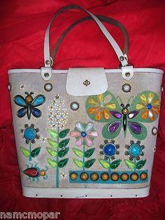 TRUE VINTAGE funky 1950's ENID COLLINS of Texas USA embellished folk art purse