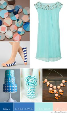Color Palette: Navy, Cornflower, Seafoam, and Melon | Flights of Fancy