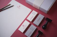 RES REI  identity for a business consultancy located in Helsinki, Finland    Res Rei is a proactive business consultancy, founded by Gareth Rice and Elena Roos in Helsinki. They function as a reliable conduit between clients and the market. The brief was to design something fresh, elegant and sophisticated. I made four stamps, and used two colors and grey paper for the business cards.     Special thanks to the guys at Fontfabric for the amazing Metropolis font.