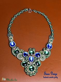 Peacock soutache necklace.
