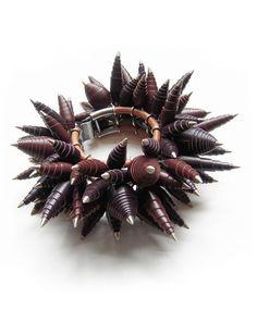 Maroon Scroll Bracelet by Andrea Janosik