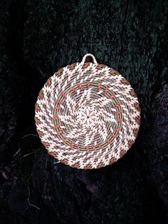 Handwoven wicker table mat Heat resistant coaster Rustic home decor Orange brown eco friendly gift Mothers day gift