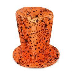Chapéu Halloween Cartola Aranhas Laranja