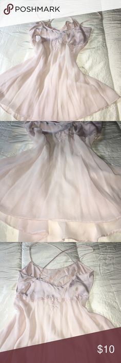 L SILK Victoria's Secret nightgown L Pale Pink silk nighty. Crossed straps, flower 🌸 and beaded accent. V back. Victoria's Secret Intimates & Sleepwear Shapewear