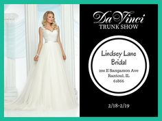 CALLING ALL FUTURE BRIDES in Rantoul IL! Our DaVinci Bridal Trunk show will be at Lindsey Lane Bridal this Saturday and Sunday (200 E Sangamon Ave Rantoul IL 61866) from 10am-5pm. You don't want to miss this! We have lots of new designs to show you. We hope to see you there!