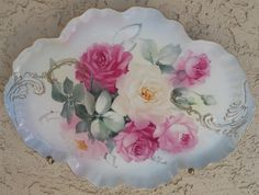 Lovely soft white & pink roses hand- painted on a scalloped tray!