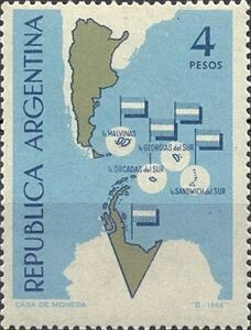 Neat Argentine stamp from 1964, showing all kinds of places as Argentine that it doesn't own