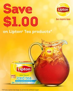 FREE Lipton Natural Energy Black Tea Sample AND $1/2 Lipton Tea Bags Coupon with No Size Restrictions!