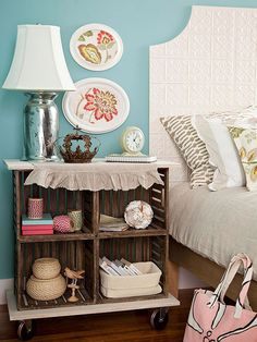 A nightstand made from crates! Check out more flea market makeovers: http://www.bhg.com/decorating/decorating-style/flea-market/flea-market-makeovers/
