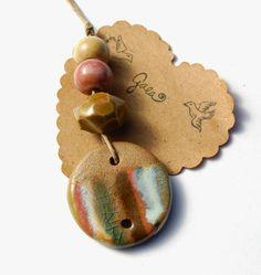 Gaea Ceramic Bead and Art Studio Blog: Earn your stripes… Handmade ceramic striped link pendant and bead sets. Original designs! gaea.cc
