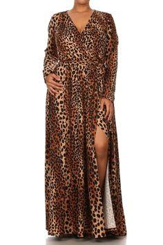 914d122bf1 PLUS SEXY LEOPARD Stretch Jersey MAXI DRESS Faux Wrap LONG Split Skirt 1X  2X 3X. Split SkirtAnimal Print DressesPlus Size ...