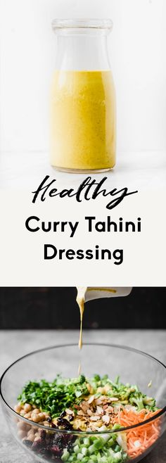 Creamy, healthy curry tahini dressing with turmeric, garlic, ginger and wonderful curry flavors. This addicting curry dressing is vegan, easy to make and doubles as an amazing dip. It will be your new favorite way to use tahini! #tahini #curry #dressing #saladdressing #vegan #dairyfree #glutenfree #paleo Tahini Dressing, Salad Dressing Recipes, Salad Dressings, Best Salad Recipes, Curry Recipes, Whole Food Recipes, Vegan Recipes, Delicious Recipes, Cooking