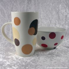 Hand decorated Mug: Use Color Dekor paint sheets to punch shapes out. Place them in water to release them from the backing sheet and slide them onto your mug. Leave to dry for 24 hrs before baking to make permanent.