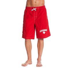 6486eecd5d lifeguard - officially licensed red lifeguard? men's board shorts swim  trunks - Walmart.com