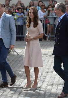The Duchess looked the picture of elegance in a pale pink dress by Lela Rose as…