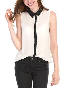 Allegra K Women's Contrast Color Button Placket Sleeveless Blouse XS White