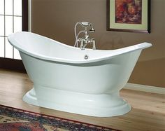 Cheviot 2153 WW 0 REGENCY Cast Iron Bathtub With Pedestal Base 14 1/
